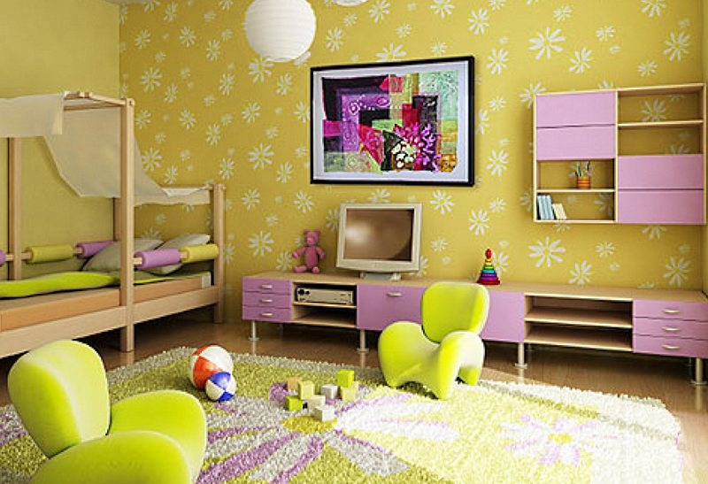 Цвет стен в детской комнате.