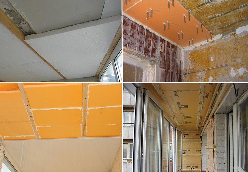 утепление потолка балкона изнутри