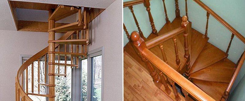 виды деревянных винтовых лестниц по горизонтальному сечению