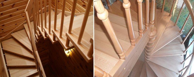 винтовая деревянная лестница на больцах