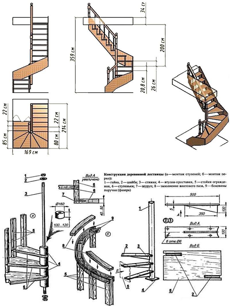 чертежи винтовой деревянной лестницы №1