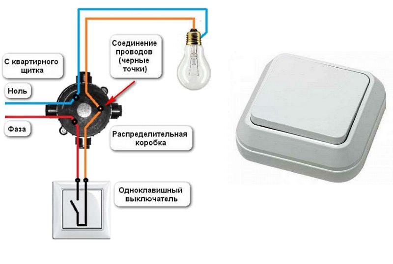 схема однокнопочного выключателя света