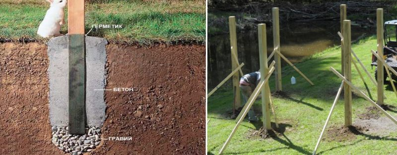 деревянные опоры беседки закопанные в землю