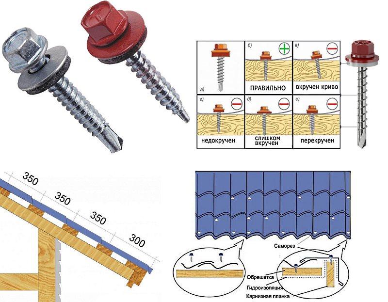 Крепление металлочерепицы к обрешетке