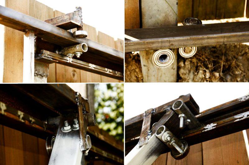 Монтаж конструкции подвесных ворот