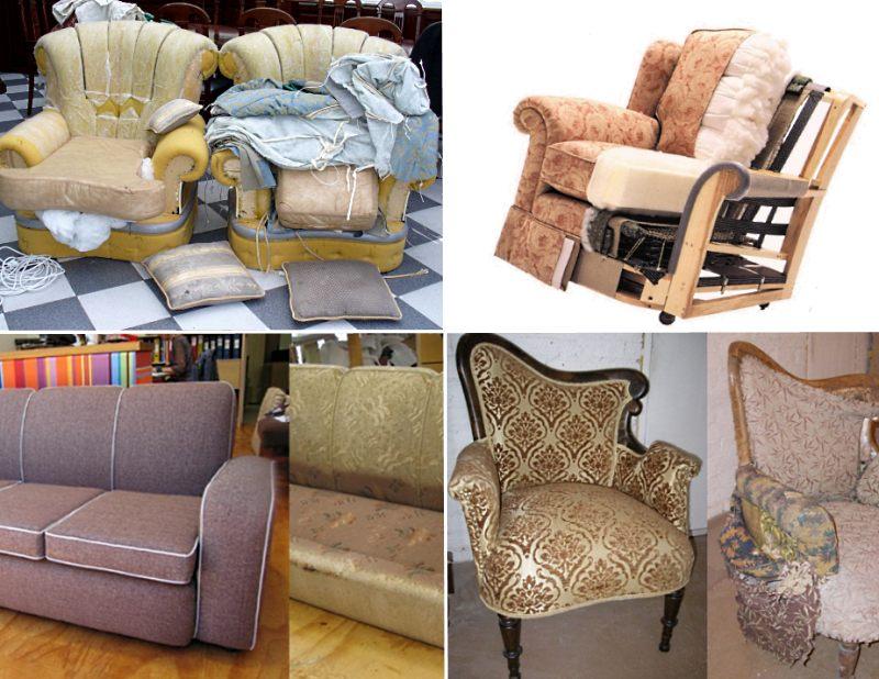 Примеры перетяжки мягкой мебели своими руками