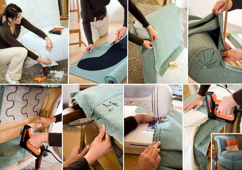 фото инструкция по перетяжке кресла своими руками