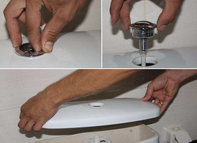 Как снять крышку бачка унитаза с кнопкой
