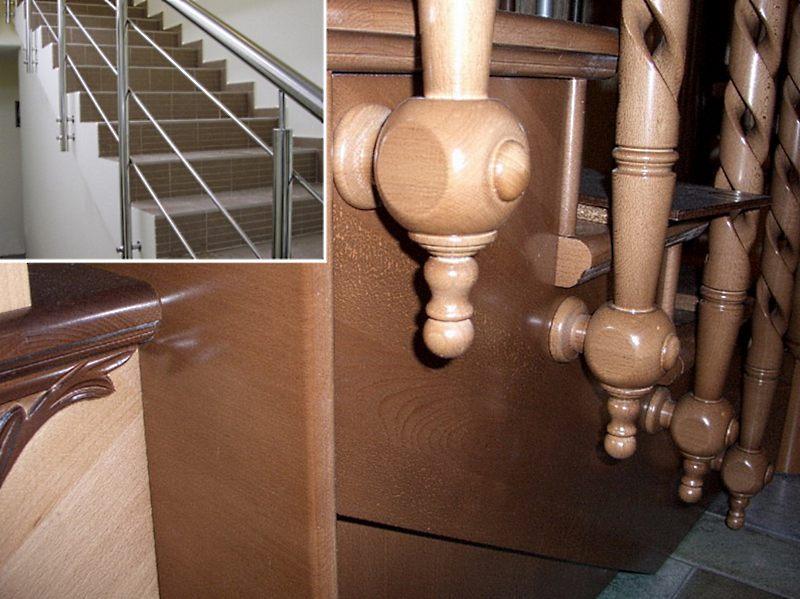 установка столбов и балясин в деревянной лестнице