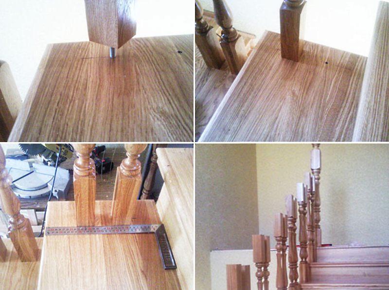 Как установить балясины на деревянную лестницу этап 4