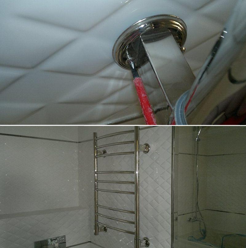 Окончательный этап установки электрического полотенцесушителя в ванной комнате