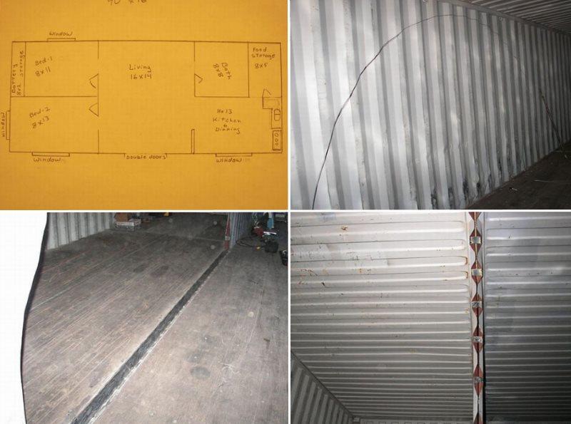План и отверстие внутри контейнеров