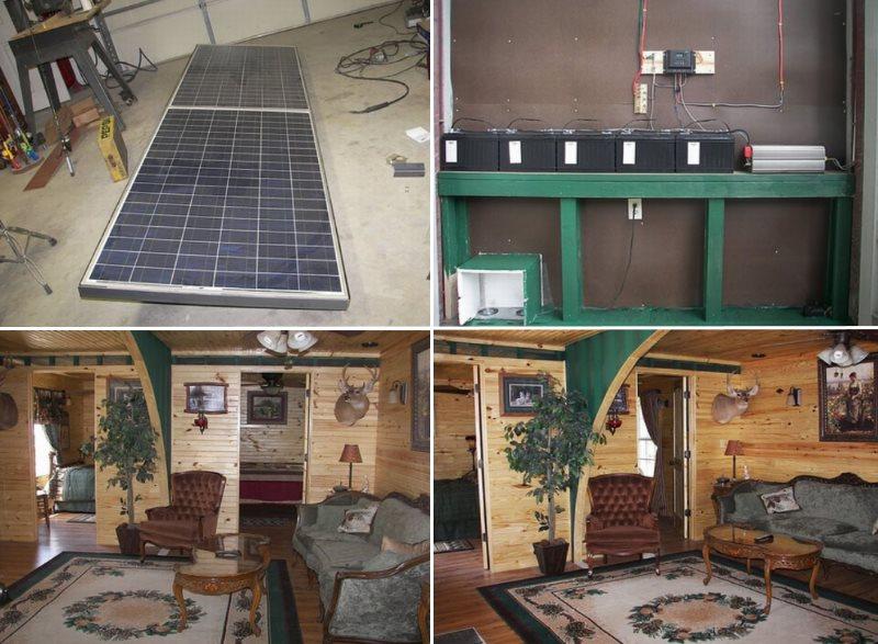 установка солнечной батареи и установка мебели