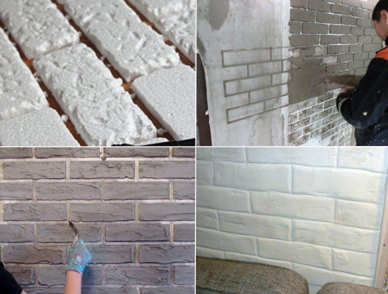 Имитация кирпичной стены своими руками.