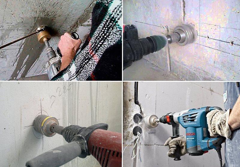 Как пользоваться коронкой для подрозетников по бетону