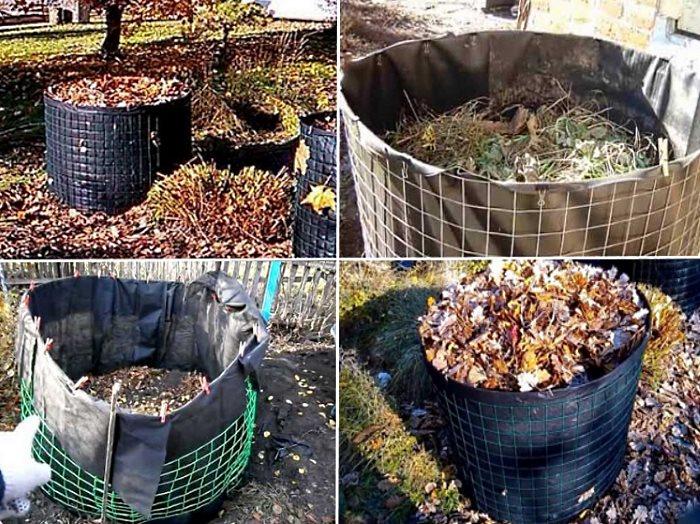 компостная яма из строительной сетки и пленки