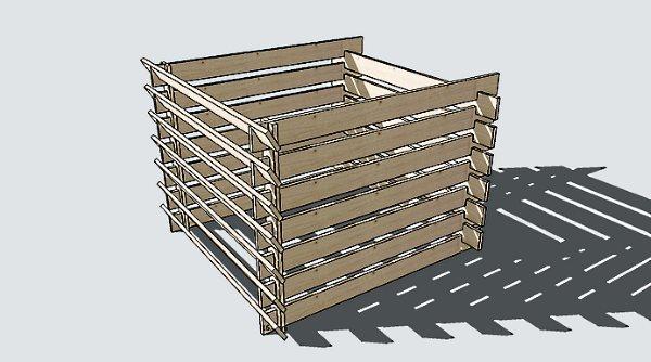схема каркаса компостной ямы