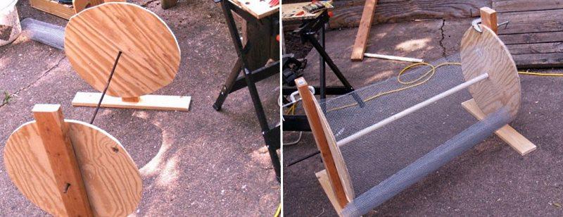 вращающийся самодельный компостер - этапы изготовления