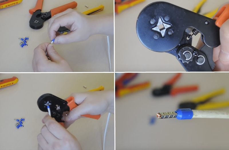 опрессовка наконечником с помощью клещей