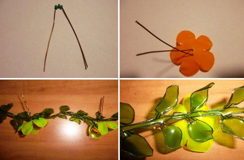 сборка цветков на ветках